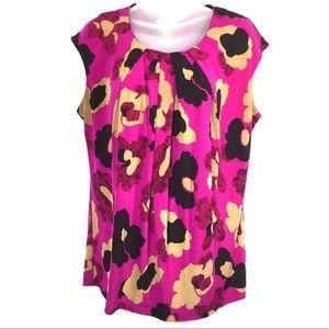 Anne Klein fuchsia pink floral top blouse shirt L